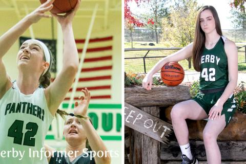 Derby's Kennedy Brown has been selected to play in the McDonald's All-American Game. (Left photo courtesy Derby Informer Sports, @Derby_Sports; Right photo by Bree McReynolds-Baetz)