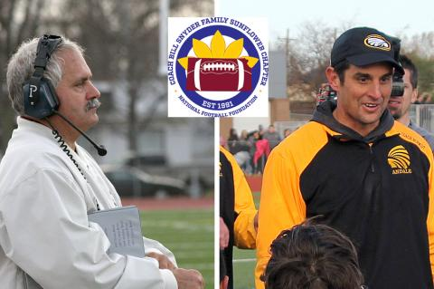 Silver Lake coach C.J. Hamilton (left) and Andale coach Dylan Schmidt (right) were recognized by the Coach Bill Snyder Family/Sunflower Chapter of the National Football Foundation for their contributions to the sport of football in Kansas. (File Photos)