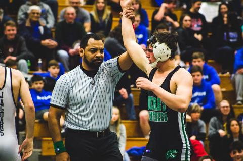 Derby's Cade Lindsey won the 170 pound class at the Garden City regional. (Photo by Tanner Hopkins)