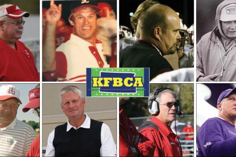 "Top row, left-to-right: Roger Barta, Gary Cornelsen, Marvin Diener and Ed Kriwiel. Bottom row: Dick Purdy, Chuck Smith, Tom Young and K-State coach Chris Klieman. (Photos: Barta, Diener, Smith, Young, Kansas Pregame file photos; Cornelsen, Kriwiel, KSHSAA/""Under The Lights""; Klieman courtesy K-State Athletics.)"