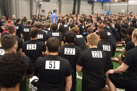 Jake Sharp addresses the athletes prior to the 2018 testing combine. (File Photo)