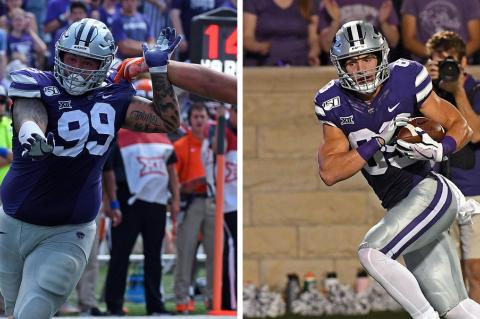 Horton's Trey Dishon (#99) and Blue Valley Northwest's Dalton Schone (#83) are just to K-State seniors who played their high school football in Kansas. (Photos courtesy K-State Athletics)