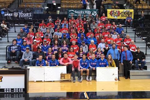 The Eureka community gathered to celebrate the high school's first state title in any sport after Saturday's 3-2-1A wrestling championships. (Photo courtesy Robin Wunderlich, The Eureka Herald)