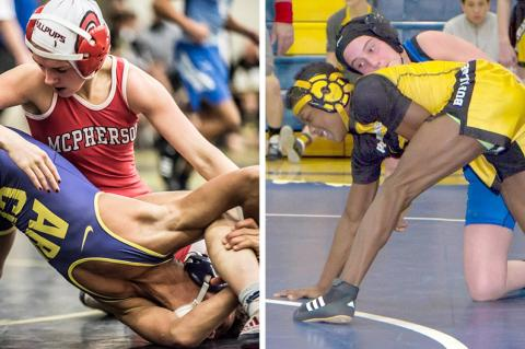 McPherson's Mya Kretzer and Nickerson's Nichole Moore are two of the state's top wrestlers.