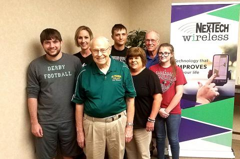 The 2019 Nex-Tech Wireless Fall Supporting Cast. Front row, left-to-right: Carl Werner, Sandi Bartz and Heidi Jones. Back row: Brett Jones, Jennifer Shiew, Tyler Engel and Don Wiens. (Photo by John Baetz)