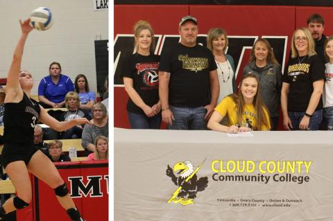 Sylvan-Lucas senior Delaney Herold recently committed to play volleyball at Cloud County Community College. (Action shot courtesy Terri Thrun, signing photo courtesy USD 299)