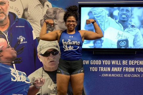 Hutch Salthawk Jayla Bynum hopes to win a second state title in the shot put and end her high school track career on a high note before heading to Indiana State. (Courtesy Photo)