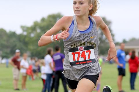 Sophomore distance runner Jentrie Alderson has big goals for her first year with the Southeast of Saline cross country team. (Photo by Huey Counts)