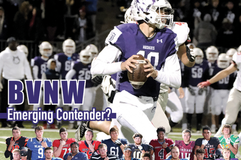 After last week's win against perennial power Blue Valley, a team hamstrung by key transfers, could the Blue Valley Northwest Huskies be an emerging Class 6A contender in the fourth season under coach Clint Rider? (Photo by Tim Galyean, tgfoto.com)
