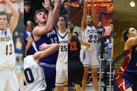 Ark City's Cevin Clark, Washburn Rural's Jordan White, KC Piper's Ryan Cobbins and Hanover's Macy Doebele are four of the more than 40 All-Stars participating in this weekend's KBCA All-Star Games in Salina. (File Photos)