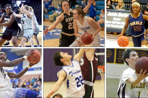 Clockwise from top left: Topeka's NiJaree Canady, Haven's Faith Paramore and Halstead's Karenna Gerber, Circle's Kimalee Cook, Osborne's Steele Wolters, Andover's Harper Jonas, Parsons' DaQuan Johnson. (Photos Credits: Canady - Craig Streever; Paramore/Gerber - Kristy Ehart; Cook - CHS Yearbook; Wolters - Stephanie Baxa, Osborne County Farmer; Jonas - Huey Counts;  Johnson - Sean Frye, Parson Sun)