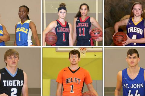 Clockwise from top left: Schlagle's Ishante Suttington and Camille Evans, Liberal's Katie Horyna and Machia Mullens, Trego's Lili Shubert, St. John's Tanner Halling, Beloit's Vincent Palen and Eisenhower's Jordan Vincent. (Photos by Everett Royer, KSportsImages.com)