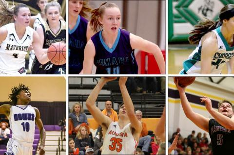 Top row, left-to-right: Maize South's Katie Wagner, Nemaha Central's Alliegh Kramer and Jeff Co. North's Josie Weishaar. (Photos by Tom Wagner, Nemaha Central Yearbook and Theresa Jobbins); Bottom row, left-to-right: J.C. Harmon's Lonell Lane, Augusta's Zach Davidson and Plainville's Jared Casey. (Photos by Brian Turrel/Wyandotte Daily News, Chase Hughes/Augusta Yearbook, Everett Royer, KSportsImages.com)