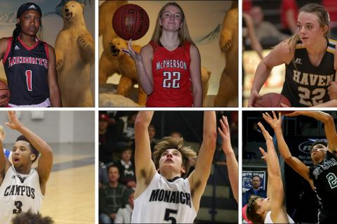 Pictured, top row, left-to-right: Wichita Heights junior Laniah Randle, McPherson junior Grace Pyle and Haven senior Faith Paramore. (Randle and Pyle photos by Everett Royer; Paramore photo by Kristy Ehart); Bottom row, left-to-right: Campus junior Sterling Chapman, TMP senior Carson Jacobs and South Central senior Xavier Frazier. (Chapman photo courtesy Bishop Chapman; Jacobs and Frazier photos be Everett Royer)