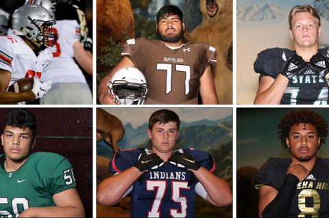 Among the members of this year's KFBCA Class 6A All-State team are, clockwise from top left: Blue Valley West's David Brown, Garden City's Refujio Chairez, Lawrence Free State's Turner Corcoran, Topeka's Ky Thomas, Manhattan's Sam Shields and Derby's Tyler Dorsey. (KPG File Photos)