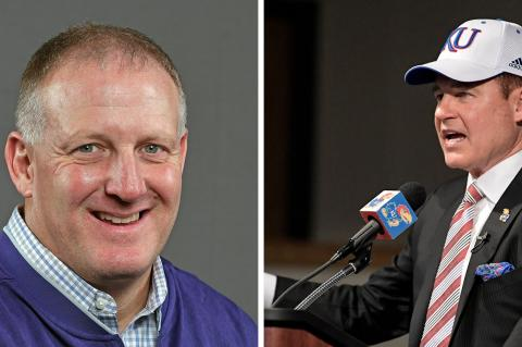 Chris Klieman (left) and Les Miles (right) will be featured speakers at this weekend's KFBCA Clinic in Wichita. (Klieman photo courtesy K-State Sports Information, Miles photo courtesy University of Kansas Athletics)