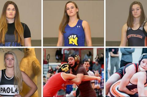 Among the top ranked wrestlers in Thursday's first KSHSAA Girls State Wrestling Championship are, clockwise from top left, Junction City's Elisa Robinson, Nickerson's Nichole Moore, Onaga's Morgan Mayginnes, Marysville's Elise Rose, Garden City's Anjelina Serrano and Paola's Jordyn Knecht. (Photos by Everett Royer, KSportsImages.com)