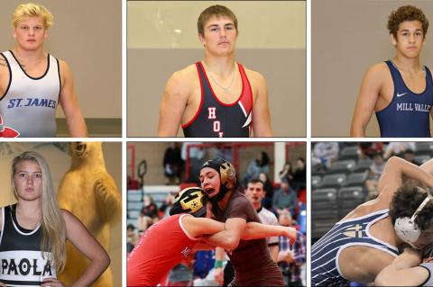 Pictured clockwise from top left: St. James Academy's Clay Lautt, Hoisington's Wyatt Pedigo, Mill Valley's Zach Keal, St. Thomas Aquinas' Jared Simma, Garden City's Anjelina Serrano and Paola's Jordyn Knecht. (All photos by Everett Royer, except Simma photo, provided courtesy of St. Thomas Aquinas Wrestling)
