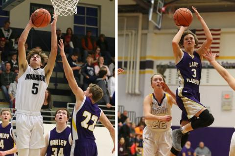 TMP's Carson Jacobs (left) and Oakley's Jordyn Lowrie are just two of the many outstanding players that will roam the basketball courts of the Mid-Continent League this season. (Photos by Everett Royer, KSportsImages.com)