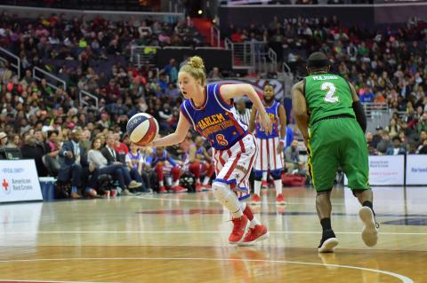 "Southeast of Saline grad Hannah ""Mighty"" Mortimer will highlight the Harlem Globetrotters trip to Salina. (Photo by Brett Meister, courtesy Harlem Globetrotters)"