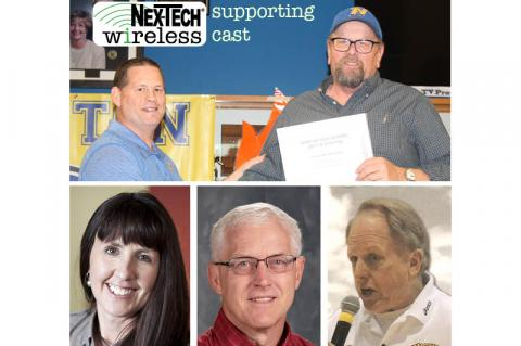 Nex-Tech Wireless Spring Supporting Cast honorees: Top - Norton wrestling coach Bill Johnson presents Jerry Darling with a certificate recognizing his contributions to Norton Wrestling; Bottom (L-R): Jamie Remsberg, Curtis Simons, Don Steffens.