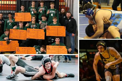 Pictured clockwise from top left: Blue Valley Southwest wins Beloit Invite, Sylvan-Lucas/Lincoln's Tra Barrientes, Newton's Grant Treaster and Marysville's Elise Rose. (Photos: Courtesy BSW Wrestling, Becky Rathbun/Lincoln Sentinel-Republican, Aiden Droge, Everett Royer/KSportsImages.com)