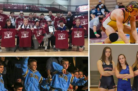 Pictured, clockwise from top left: Goddard, Hillsboro's Jordan Bachman, Junction City's Elisa Robinson, Nickerson's Nichole Moore, Onaga's Morgan Mayginnes, Chanute's Kedric Emling, Trent Clements and Kolton Misener. (Photos courtesy Jammie Atkins, Hillsboro Wrestling, Everett Royer and Sophie Osborn)