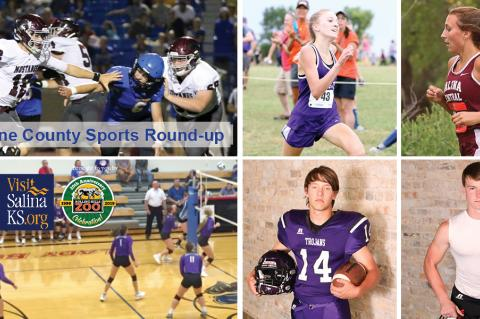 Pictured clockwise from top left: Salina Central QB Jackson Kavanagh (Photo: Huey Counts); Southeast of Saline XC runner Jentrie Alderson (Counts); Salina Central XC runner Kadyn Cobb (Counts); Ell-Saline RB Luke Parks (Photo: Bree McReynolds-Baetz); SES QB Jaxson Gebhardt (McReynolds-Baetz); SES volleyball (Photo: SES Athletics).