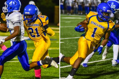 Manowa Ngenzirabona (#21, left) and Jaylin Richardson will start their quest to lead Schalgle to a KC-AL championship tonight against Atchison. (Photos by Brian Turrel, Wyandotte Daily News)