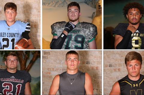 Clockwise from top left: Riley County's Garrett Harmison, Derby's Alex Conn, Topeka's Ky Thomas, Madison's Hunter Engle, Hoisington's Wyatt Pedigo and Plainville's Jared Casey are just a few of the players who will be called on in state semi-final games. (Conn, Thomas, Casey photos by Everett Royer; Harmison, Engle, Pedigo photos by Bree McReynolds-Baetz)