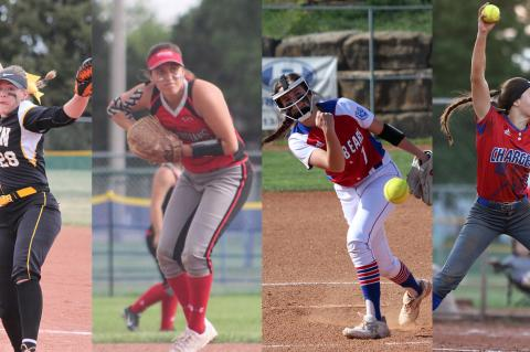 From L-R: Haven's Maguire Estill, Osage City's Aliks Serna, Oskaloosa's Ellie Stember and Wabaunsee's Autymn Schreiner (Photos by Dedria Ashworth, Nancy Lamb, Jill Guilfoyle and Everett Royer)