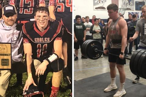 Left: Russ and Drake Steinbrock pose with the district championship trophy last fall. Right: Drake prepares to execute a successful attempt at 320 pounds and break the Horton Powerlifting Meet record at 181 pounds. (Courtesy Photos)