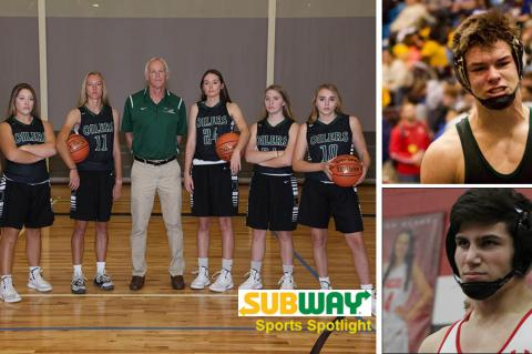 Pictured, clockwise from left: Central Plains seniors with coach Pat Stiles, Blue Valley Southwest senior Seth Nitzel and Maize senior Devin Gomez. (Photos by Everett Royer, Whitney Parks and Dan Loving)