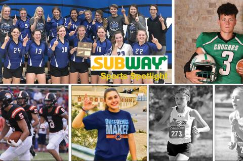 Clockwise from top left: Lincoln volleyball (Photo: Angela O'Bannon); Hutch-Central Christian's Caleb Lambert (Photo: Bree McReynolds-Baetz); Maize's Zoie Ecord (Photo: Huey Counts); Maize South's Alexa Rios (Photo: Huey Counts); Bluestem's Torrance Lovesee (Courtesy Photo); Beloit's Carson Cox (Photo: Debbie Meier, MeierProductions.com)