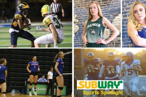 Wichita Northwest/Bishop Carroll, Chapman's Taylor Briggs and Lincoln's Jaycee Vath, Wabaunsee volleyball and the Parson/Iola game are just a few of the items featured in our new Subway Sports Spotlight. (Photo credit, clockwise from top left: Anna Harter, Everett Royer/KSportsImages.com, Erick Mitchell/Iola Register, Everett Royer/KSportsImages.com)