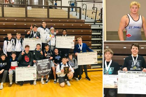 Pictured, clockwise from left: Goddard High won the team title at the Rock Welton; St. James Academy's Cade Lautt won the 220 pound title; Goddard's Cayleb Atkins won the 160 pound class. (Goddard photos by Jammie Atkins; Lautt photo by Everett Royer, KSportsImages.com)