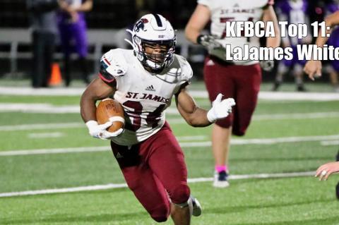 KFBCA Top 11: St. James Academy back LaJames White, #34 (Photo by Jason Burritt, Bay's Creek Photo)