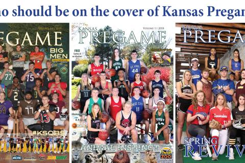 Pictured, left-to-right: Kansas Pregame Football Preview 2019, Kansas Pregame Winter Edition 2018, Kansas Pregame Spring Edition 2019. (Photos by Bree McReynolds-Baetz and Everett Royer)