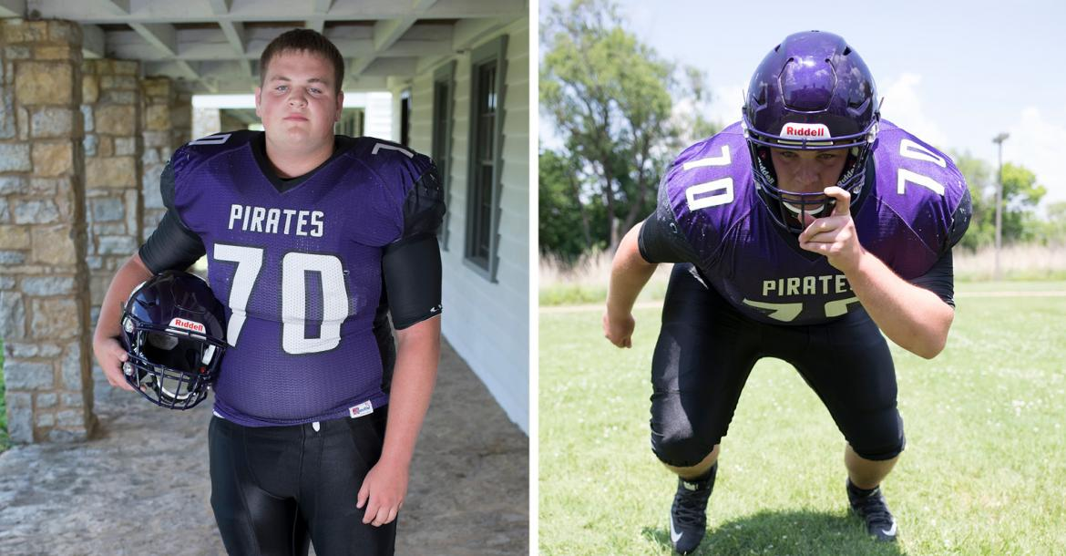 KC Piper defensive lineman Cooper Beebe is one of the top recruits in the state and committed to play for Kansas State during December's early signing period. Beebe's older brother Colton was also a Kansas Pregame coverboy and played for the University of Minnesota. (Photos by Derek Livingston)