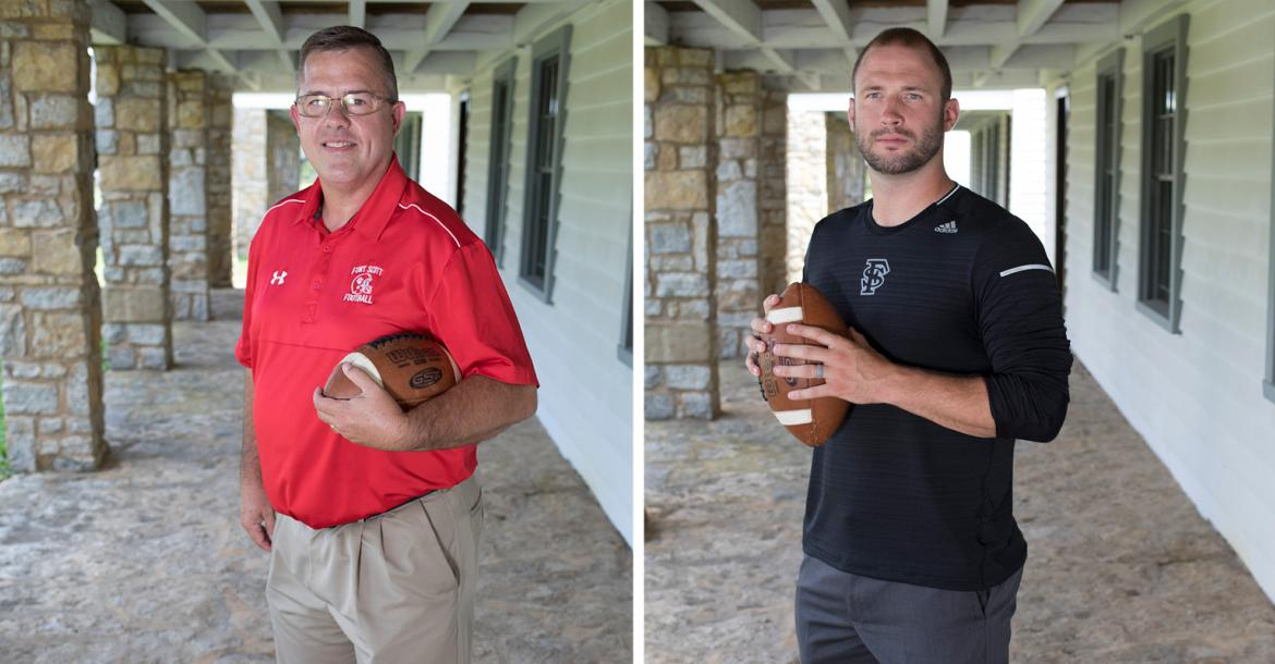 From left-to-right: Fort Scott coach Bob Campbell retired from coaching at the end of 2018 after a long and successful career. Fort Scott Community College coach Kale Pick, a Dodge City native, is just getting his career started as one of the youngest college head coaches in the country. (Photos by Derek Livingston)