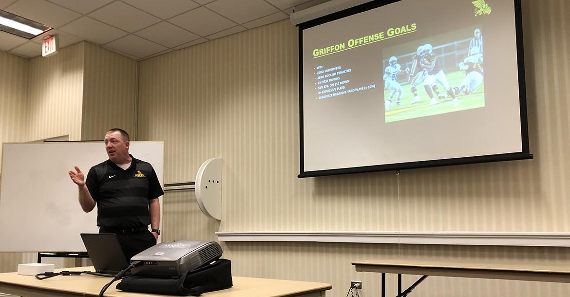 "Missouri Western offensive coordinator Dave Brown talked about the ""Griffons' Red Zone Offense"" on Saturday morning. (Photo by Rod Stallbaumer)"