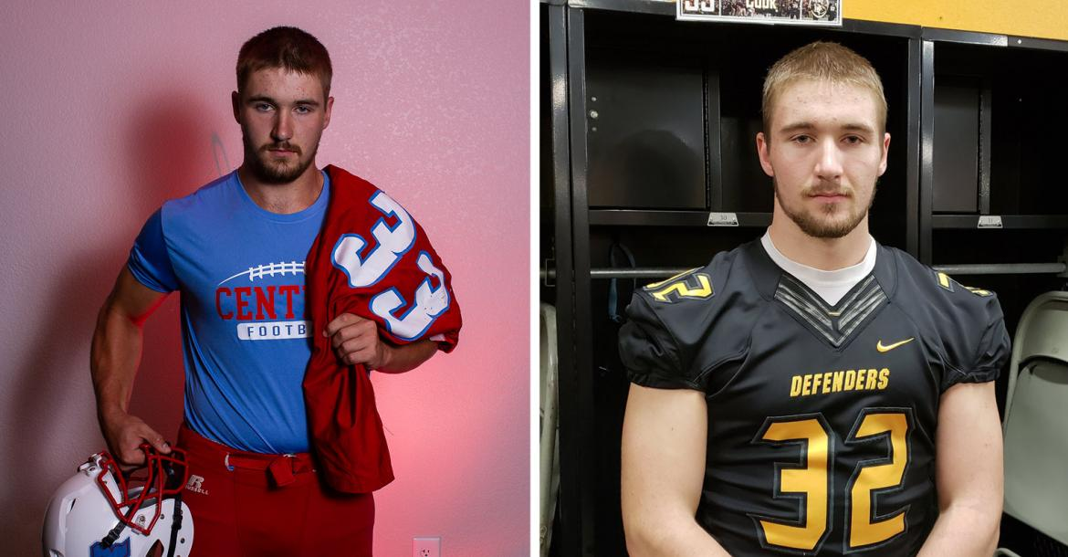 """Central-Burden's Clayton Cook, featured in our """"Weighting Game"""" feature, signed with Dordt College in Iowa. (Left photo by Joey Bahr, right photo courtesy Clayton Cook)"""