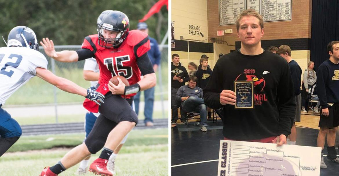 """Ell-Saline QB Nick Davenport, a subject of our """"Spreading the Field"""" feature in 2017 and our Sharp Performance Combine and Top Prospect coverage in 2018, as well as a Winter coverboy, committed to play at Butler Community College. (Left photo by Lane Mills Photography, right photo courtesy Nikki Davenport)"""