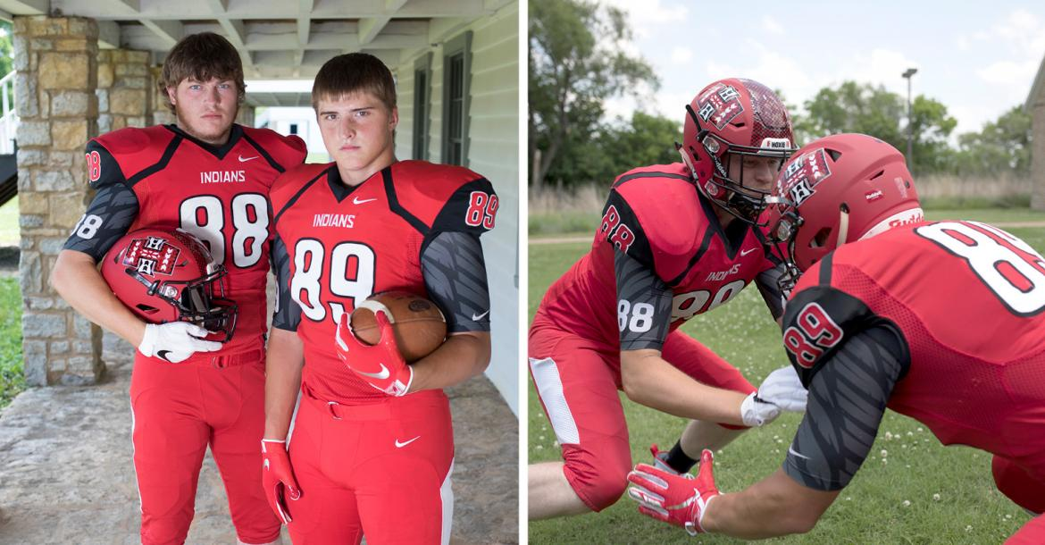 Hoxie's Colton Heskett and Jarrod Dible were anchors of the offensive and defensive lines and led the team to a state title in 2017. (Photos by Derek Livingston)