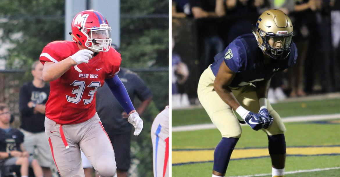 """Miege linebacker Dylan Downing and Aquinas safety Jayden Russell were part of last year's """"Recruiting Kansas"""" feature. Downing accepted a Preferred Walk-On offer to the University of Kansas while Russell accepted a scholarship offer from the Jayhawks. (Downing photo by Kenny Daniel, Russell photo by Susan Goodwyn)"""