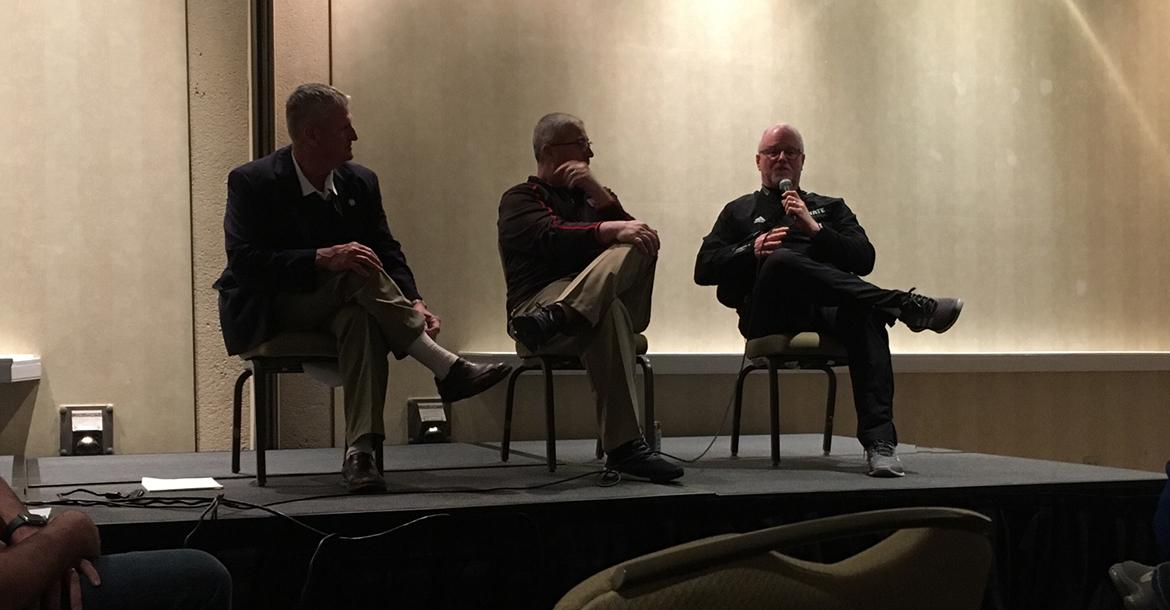"""Legendary high school coaches Chuck Smith (Pittsburg-St. Mary's Colgan), Rick Wheeler (Wichita Heights) and Bob Fisher (Lawrence Free State) answered questions from the crowd during the new """"Legends Panel"""" on Friday night. (Photo by Mitchell Kucera)"""
