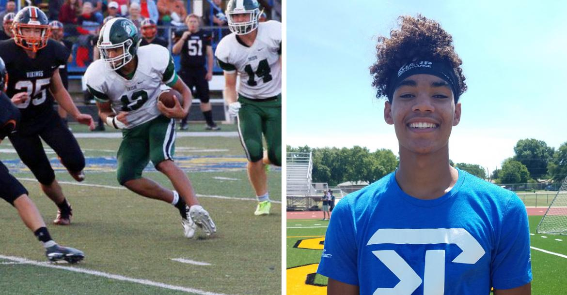 Chapman's Izek Jackson, a subject of our Sharp Performance Top Prospect coverage, signed with Butler Community College. (Left photo by CHS Journalism, right photo by John Baetz)