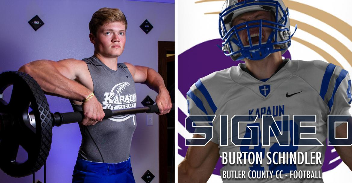 "Kapaun defensive end/linebacker Burton Schindler, part of our ""Weighting Game"" feature, signed with Butler Community College. (Left photo by Joey Bahr, edit on the right courtesy Kapaun Athletics)"