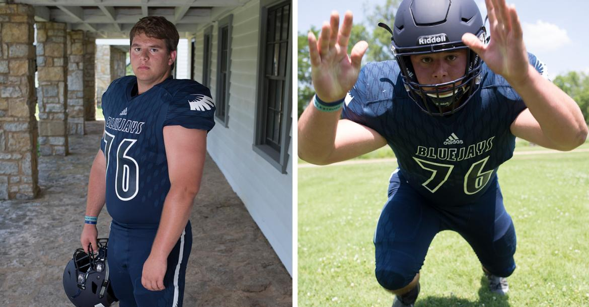 Sabetha lineman Elliott Strahm was a four-year starter for the Bluejays and helped lead them to back-to-back 3A State Titles over the last two seasons. (Photos by Derek Livingston)