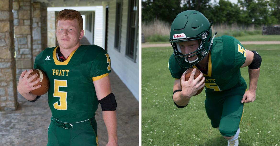 Pratt's Travis Theis spent four years as one of the most productive runners in Kansas high school history leading the Greenbacks to title games in 2016 and last fall including a championship in his sophomore year and a one-point decision to Sabetha in November. Theis plans to continue his football career in college at the University of South Dakota. (Photos by Derek Livingston)